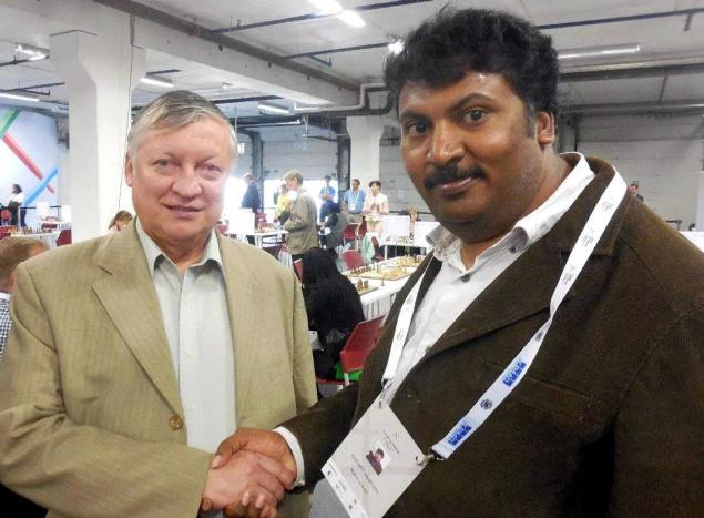 Memorable meet Inaganti Amarnath with former world champion Anatoly Karpov. Photo: By arrangement. / The Hindu