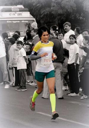 Sayuri Dalvi, mother of an autistic child, is all set to run in the Hyderabad half marathon this year. / The Hindu