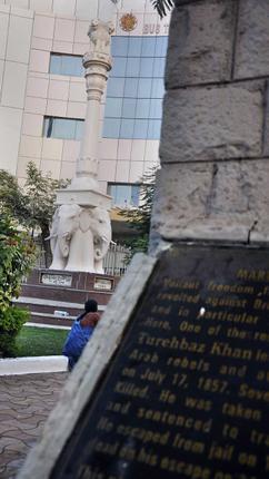 Stark reminder:The memorial for Turehbaz Khan and others at Koti.– Photos: G. Ramakrishna / The Hindu
