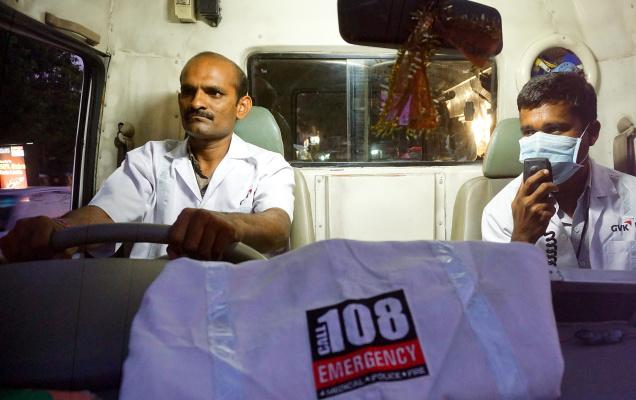 Driver Narasaiah (left) and Emergency Medical Technician Bhumchander (not in picture) helped deliver the baby of a woman in the 108 van on Monday. Photo: Satyanarayana Gola / The Hindu