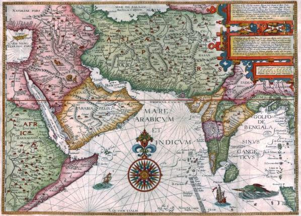 The first Dutch map of the subcontinent and the Middle East done in 1596.