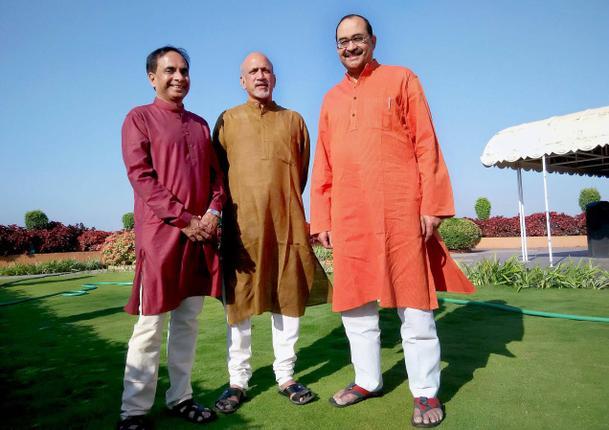 ( L to R) Mahalingam, Venkataraman and Sridhar Subhasri of Sri Rama Navami Cultural Festival Photo: K. Ramesh Babu