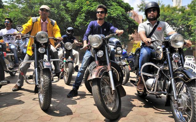 Citizens who own Jawa and Yezdi bikes taking out a rally marking the 13th International Jawa-Yezdi Day in Hyderabad on Sunday.– Photo: G. Ramakrishna