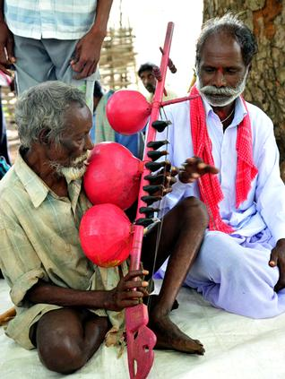 A Chenchu tribesman playing 'Kinnera' presented by the Telangana Rachayithala Vedika and the University of Hyderabad. /  by Special Arrangement