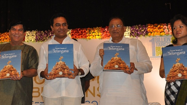 IT minister KT Rama Rao flanked by state government advisor KV Ramanachary, TSTDC chairman P Ramulu and MD Christina Z Chongthu releasing a book on 'Ancient Temples of Telangana' on the occasion of World Tourism Day in Hyderabad on Sunday. | EXPRESS Photo