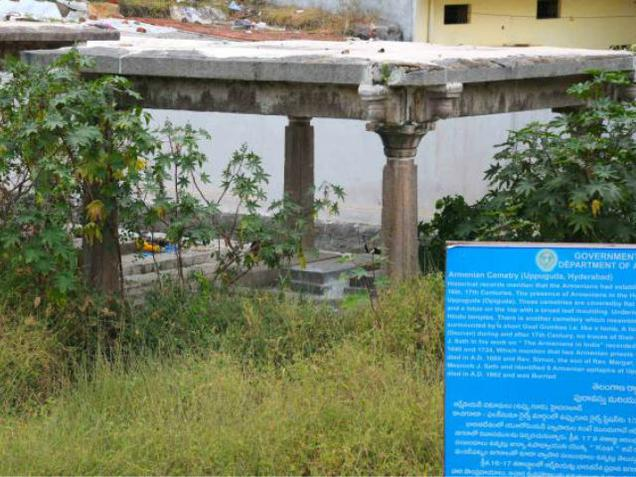 State Archaeology and Museums all set to put new life into most neglected heritage monument of the 17th century Armenian Cemetery situated at Uppuguda (Opiguda) in Hyderabad'old city will likely to opened for the general public and tourists. Photo: Mohammed Yousuf