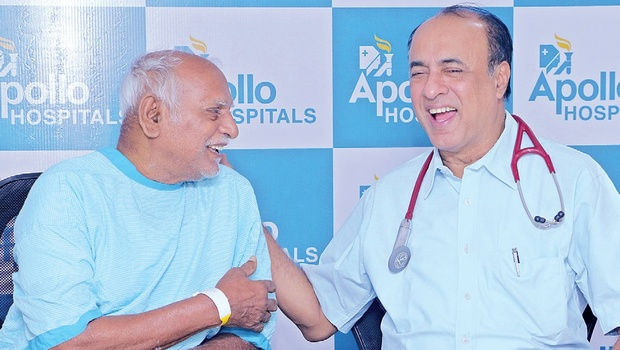 Dr PC Rath of Apollo Hospitals with Yerra Veeraiah, who underwent a pioneering cardiac procedure, in Hyderabad on Thursday. | EXPRESS PhOTO